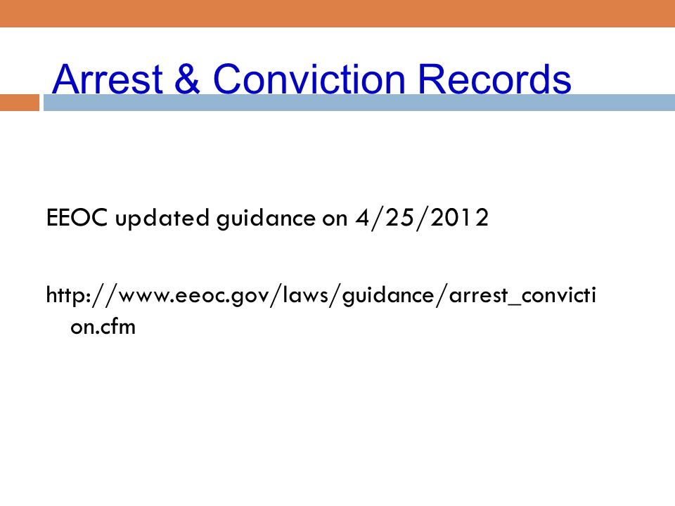 Arrest & Conviction Records