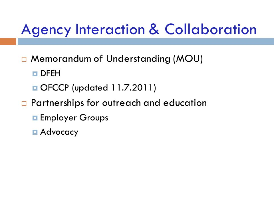 Agency Interaction & Collaboration