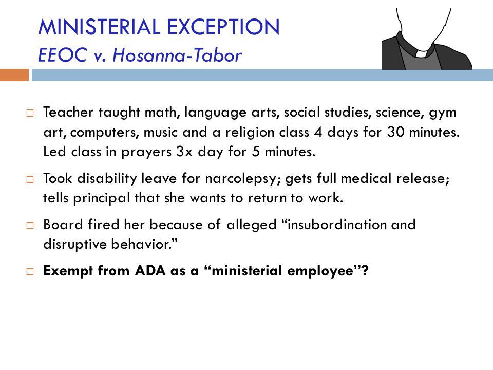 MINISTERIAL EXCEPTION EEOC v. Hosanna-Tabor