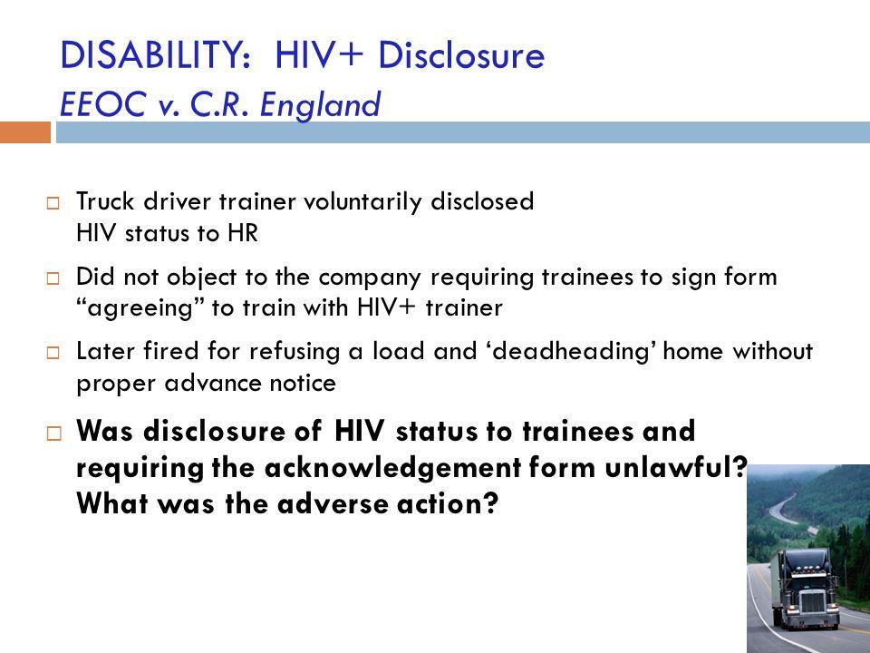 DISABILITY: HIV+ Disclosure EEOC v. C.R. England