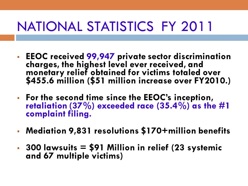 NATIONAL STATISTICS FY 2011