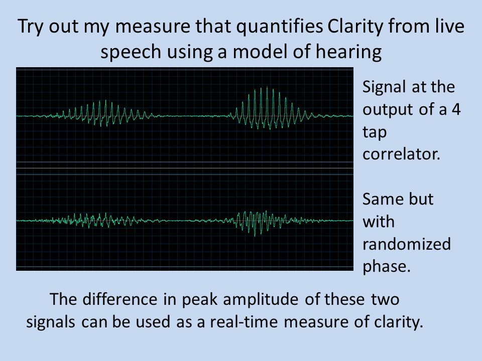 Try out my measure that quantifies Clarity from live speech using a model of hearing