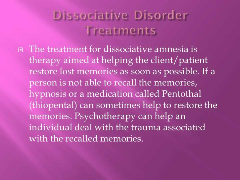 Dissociative Disorder Treatments