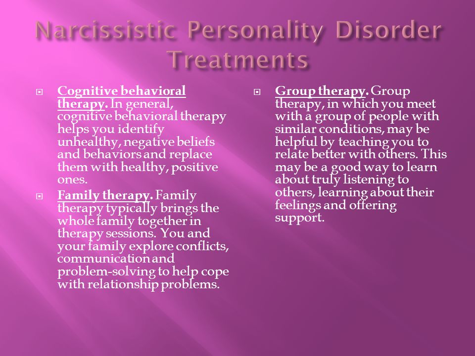 Narcissistic Personality Disorder Treatments