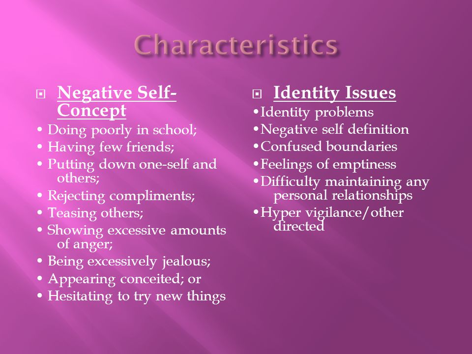 Characteristics Negative Self-Concept Identity Issues