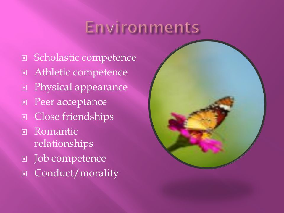 Environments Scholastic competence Athletic competence