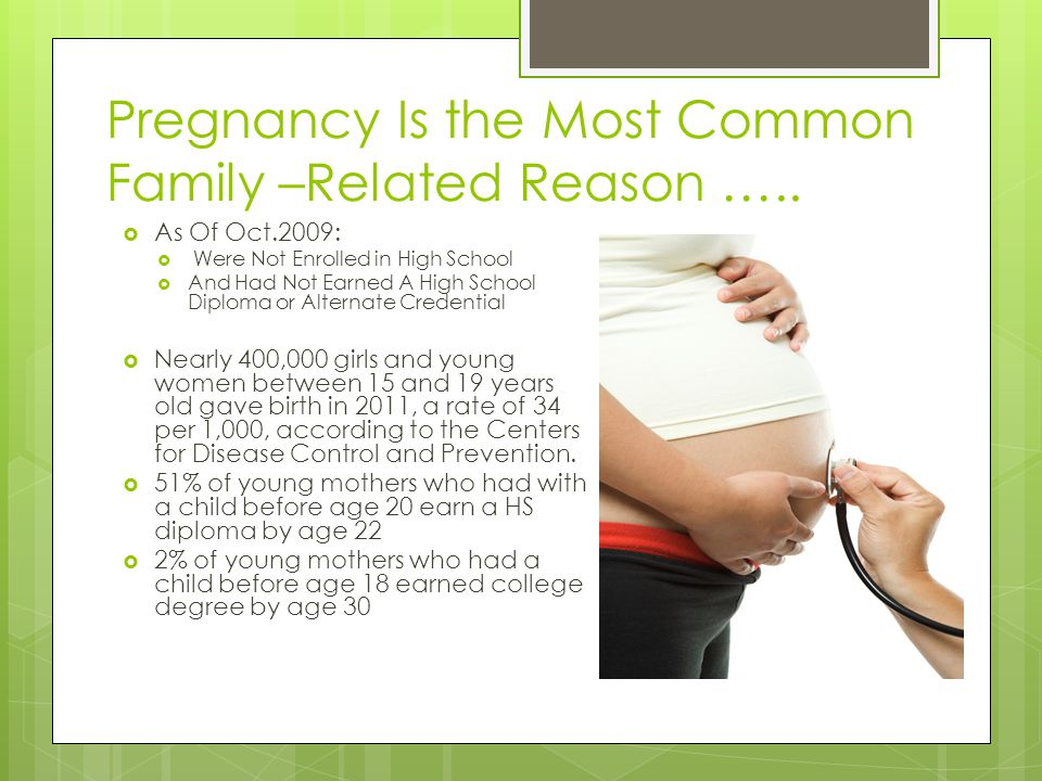 Pregnancy Is the Most Common Family –Related Reason …..