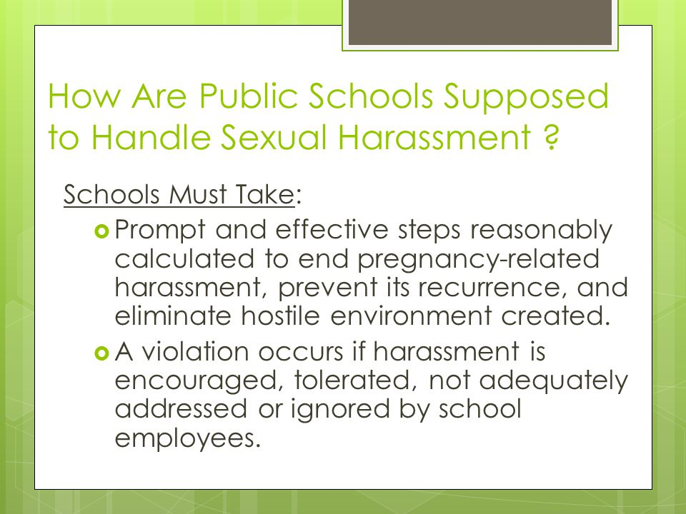 How Are Public Schools Supposed to Handle Sexual Harassment