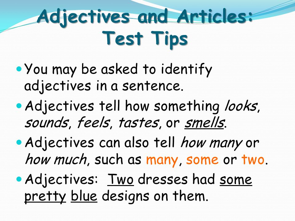 Adjectives and Articles: Test Tips