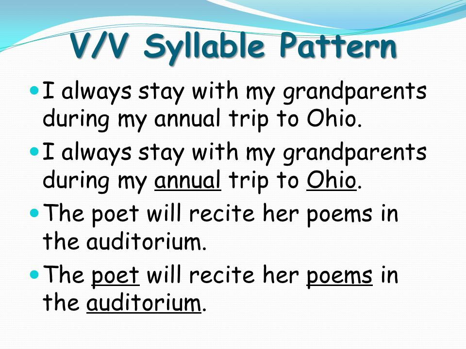 V/V Syllable Pattern I always stay with my grandparents during my annual trip to Ohio.