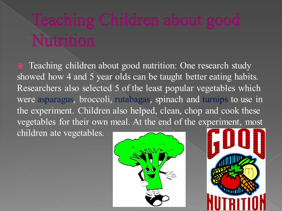 Teaching Children about good Nutrition