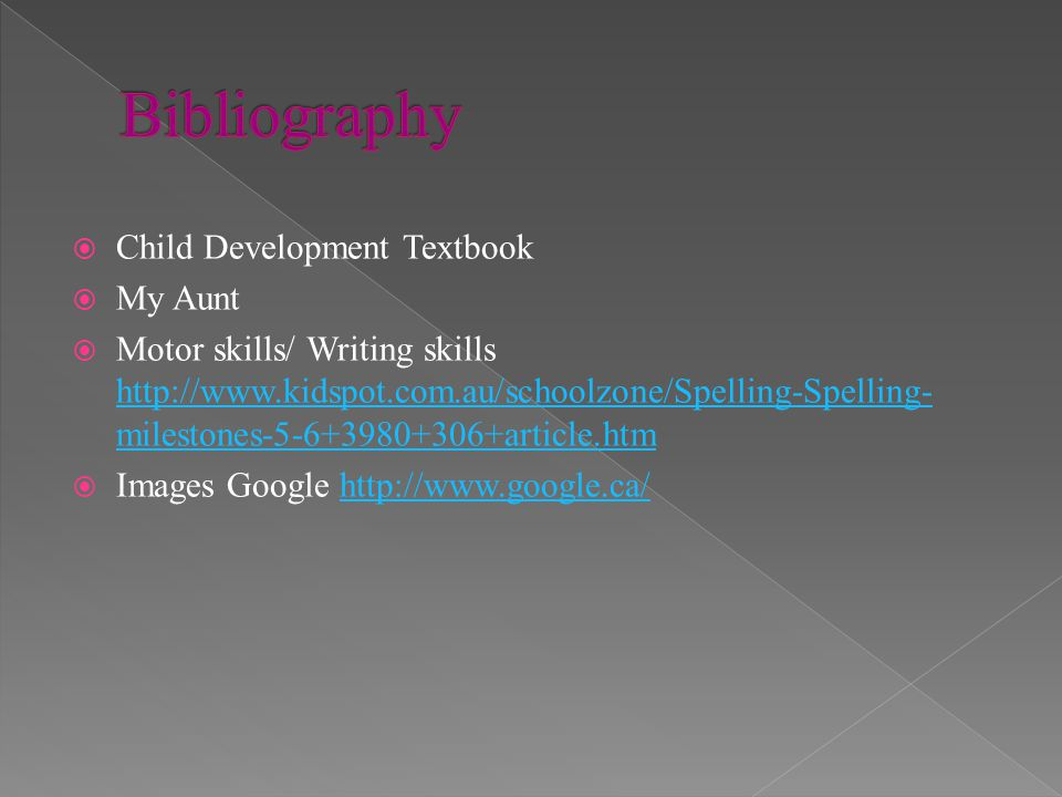 Bibliography Child Development Textbook My Aunt