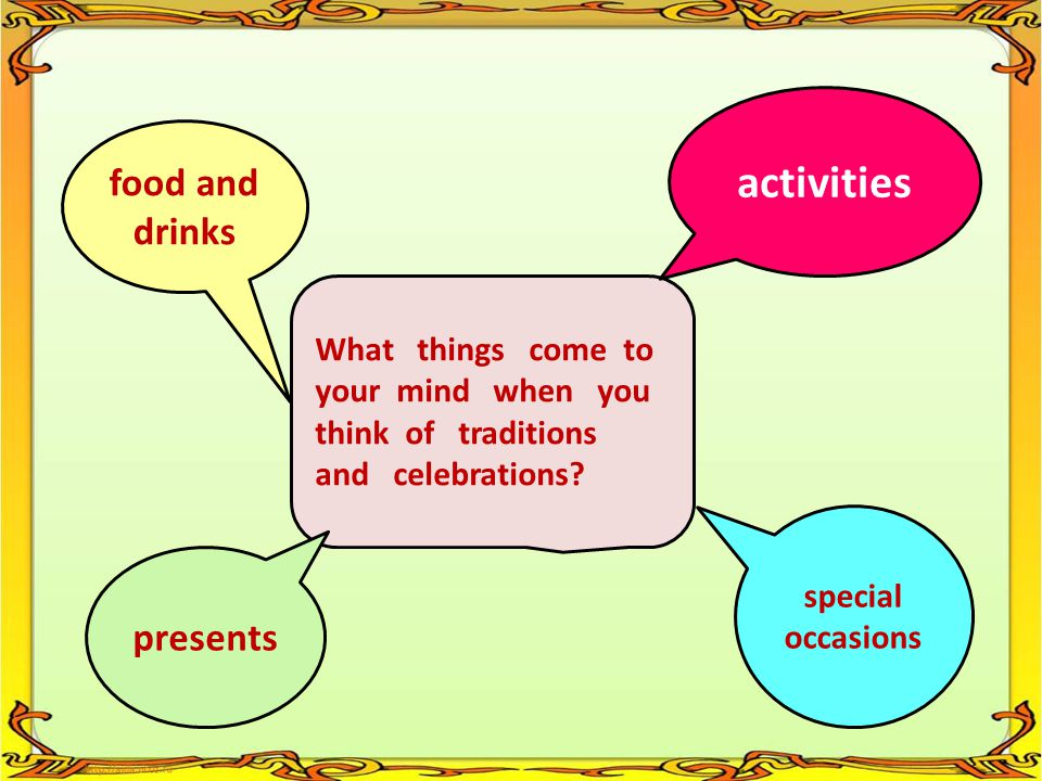 activities food and drinks presents