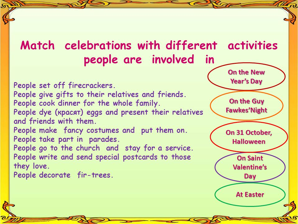 Match celebrations with different activities people are involved in