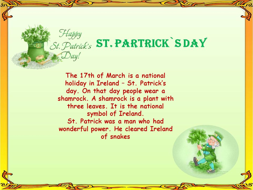 ST. PARTRICK`S DAY