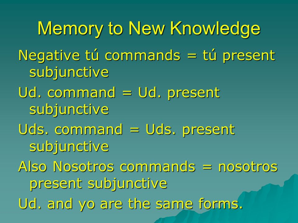 Memory to New Knowledge