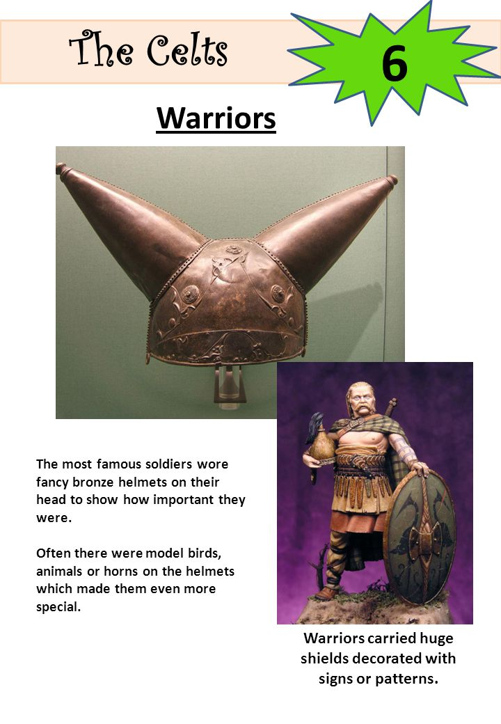 Warriors carried huge shields decorated with signs or patterns.