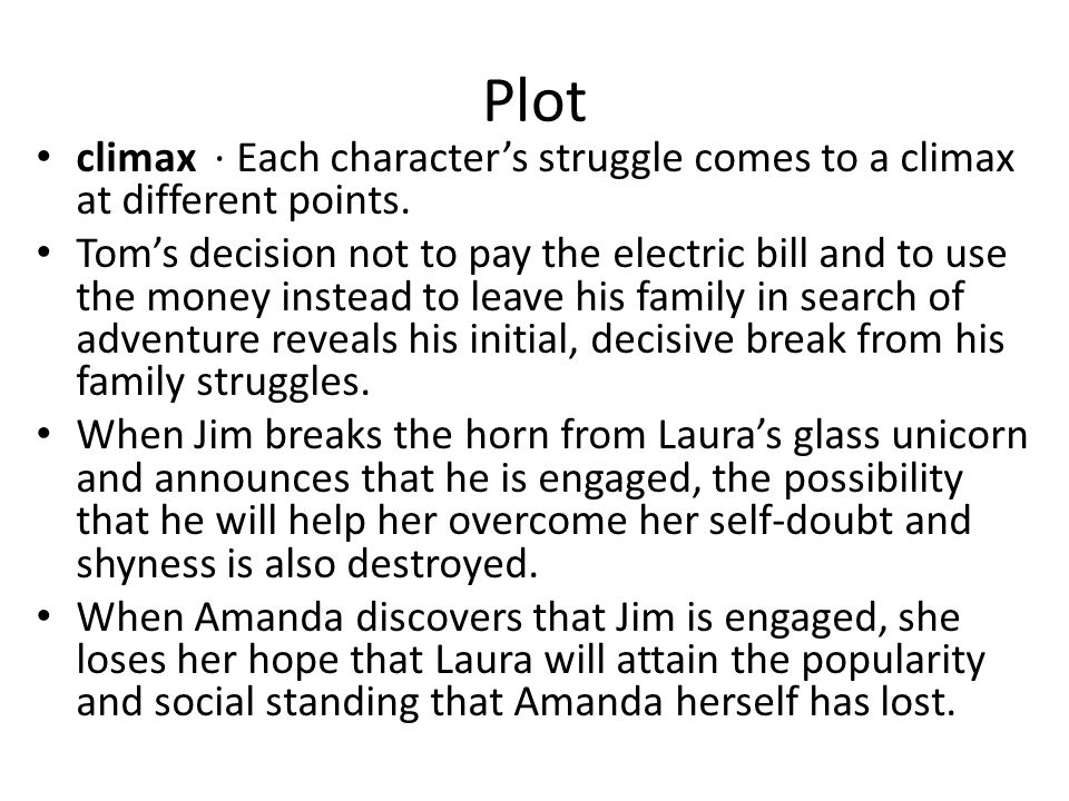 Plot climax · Each character's struggle comes to a climax at different points.