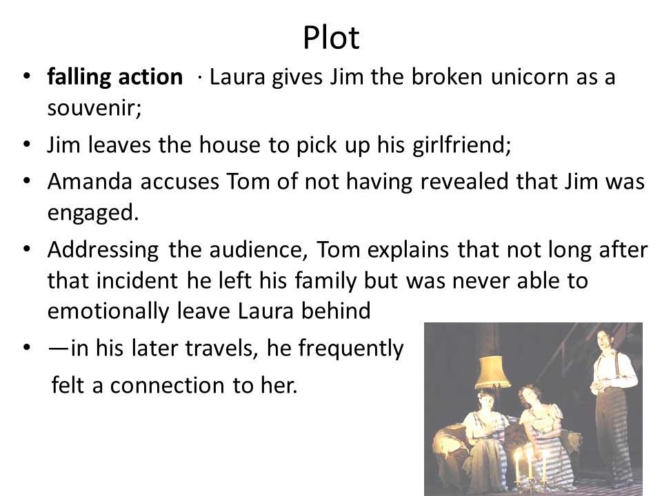 Plot falling action · Laura gives Jim the broken unicorn as a souvenir; Jim leaves the house to pick up his girlfriend;