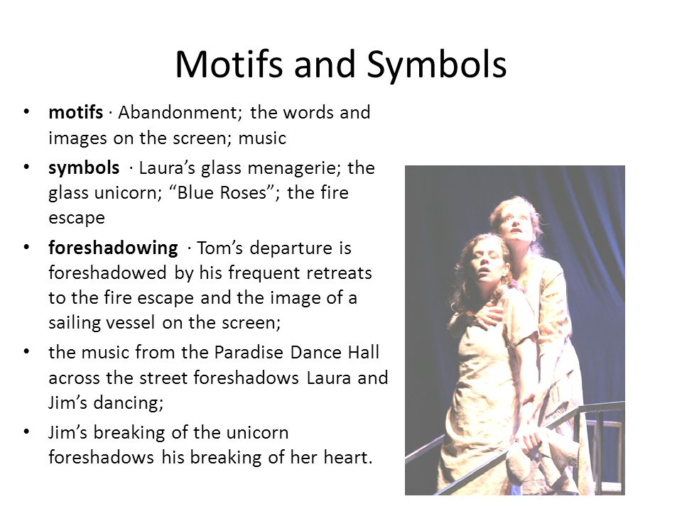 Motifs and Symbols motifs · Abandonment; the words and images on the screen; music.