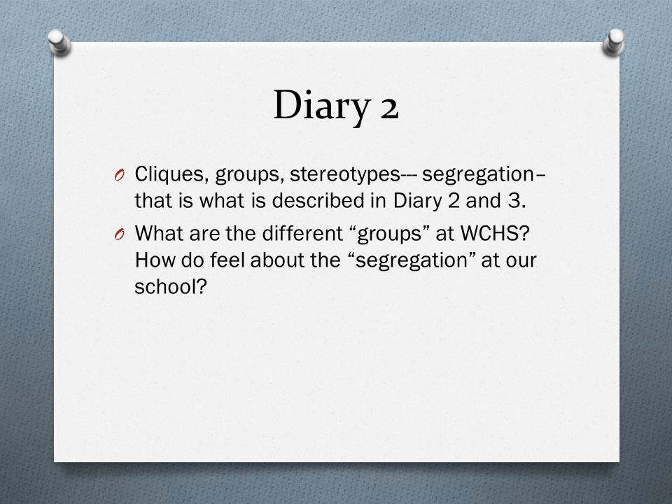 Diary 2 Cliques, groups, stereotypes--- segregation– that is what is described in Diary 2 and 3.