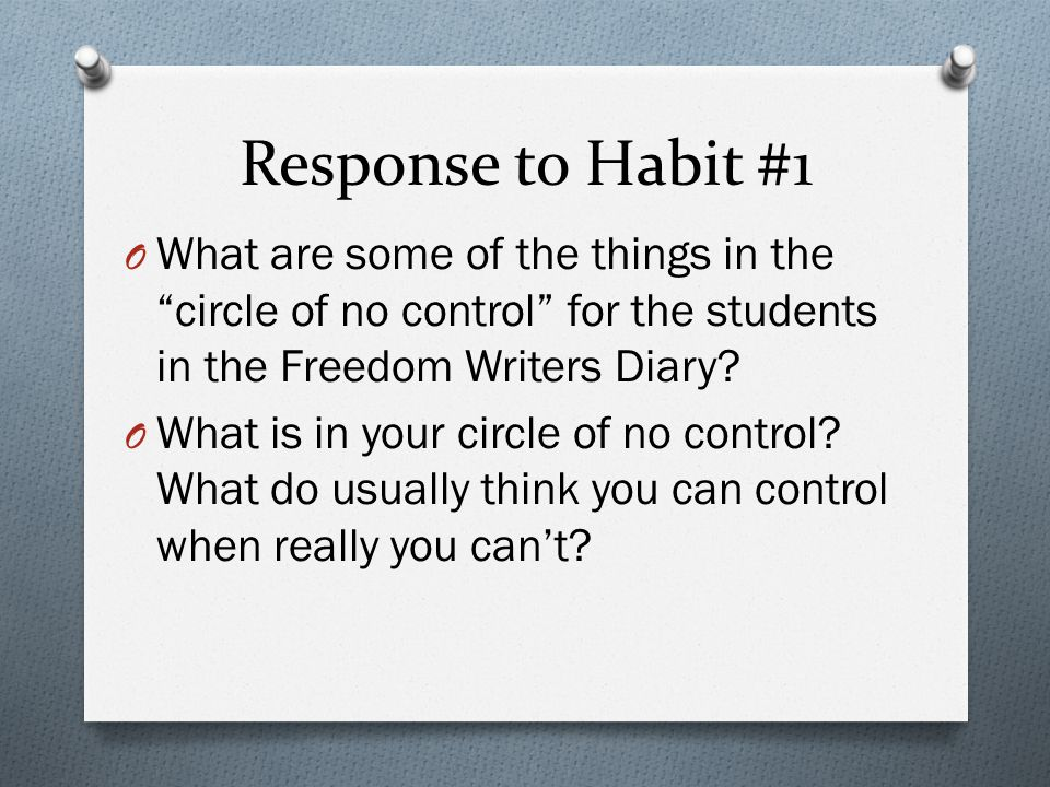 Response to Habit #1 What are some of the things in the circle of no control for the students in the Freedom Writers Diary