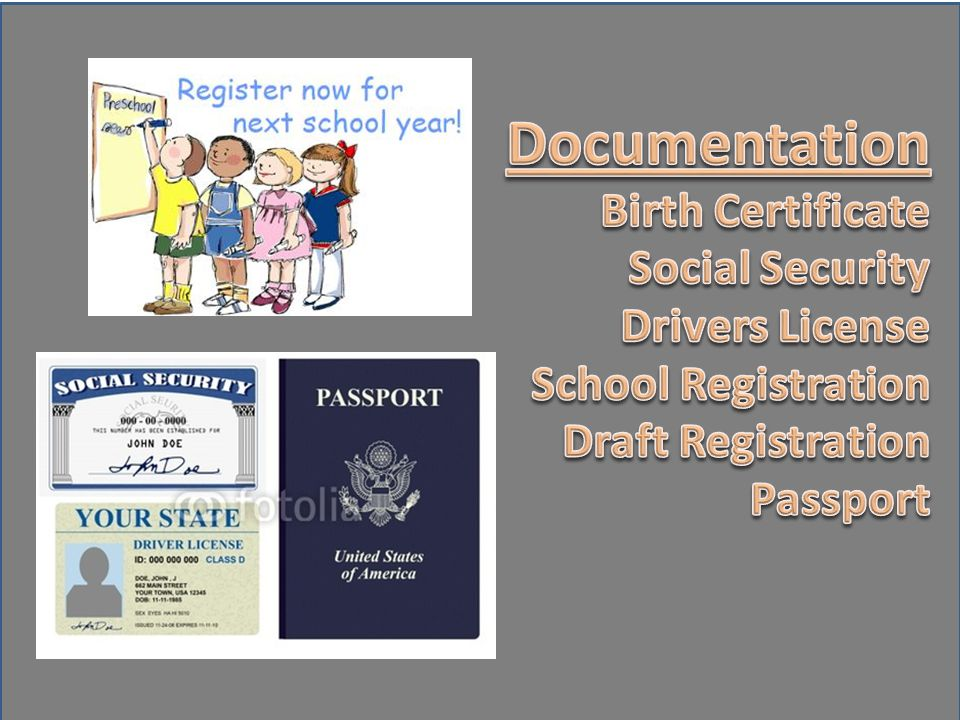 Documentation Birth Certificate Social Security Drivers License