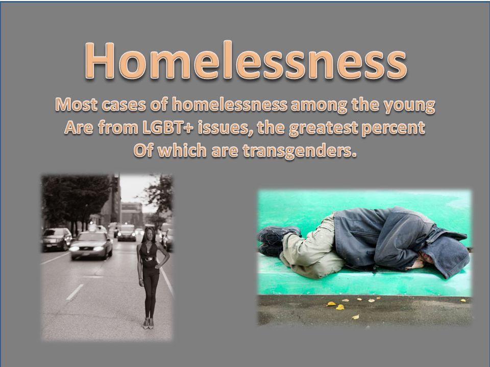 Homelessness Most cases of homelessness among the young