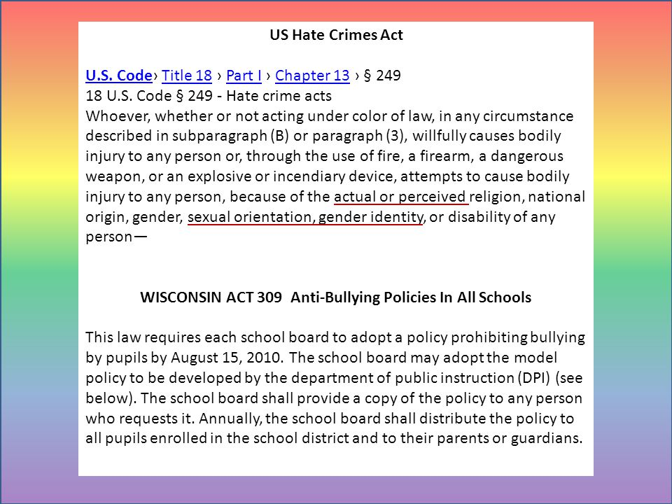 WISCONSIN ACT 309 Anti-Bullying Policies In All Schools