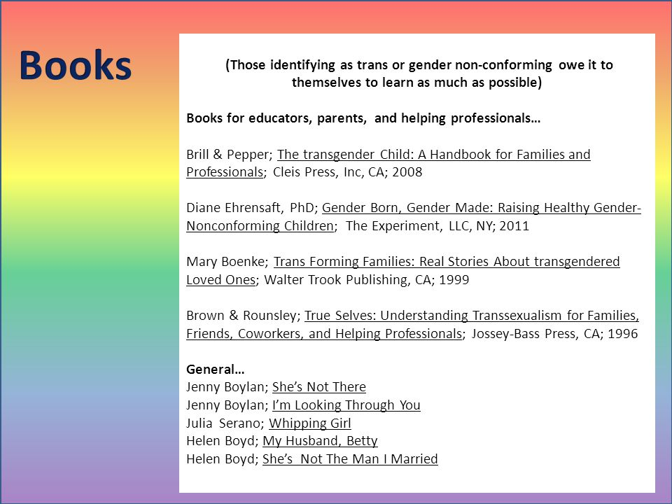 Books (Those identifying as trans or gender non-conforming owe it to themselves to learn as much as possible)