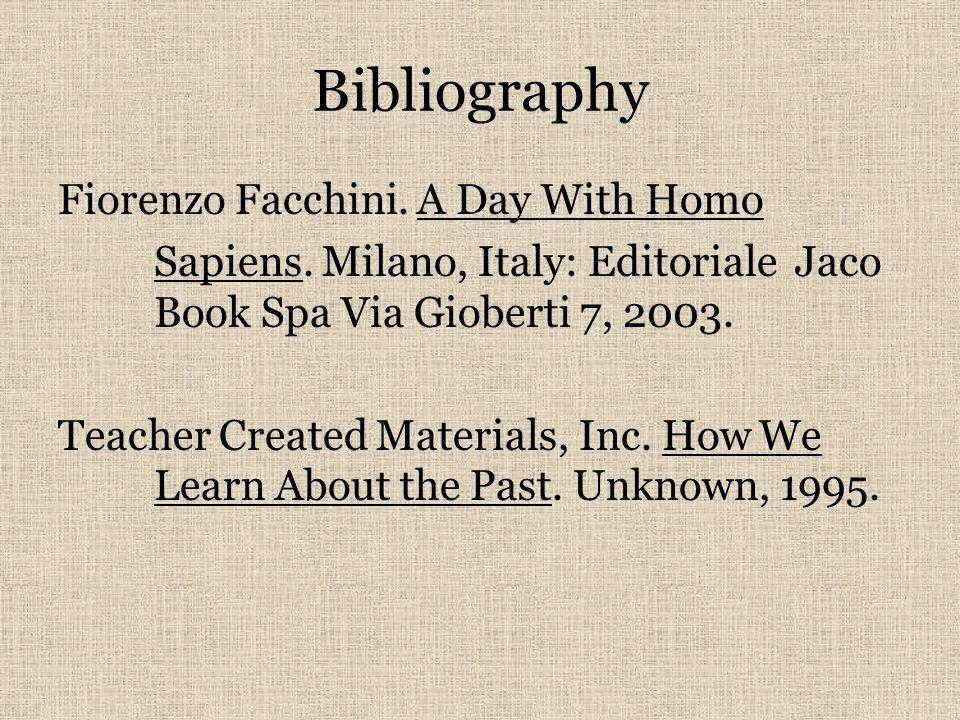 Bibliography Fiorenzo Facchini. A Day With Homo