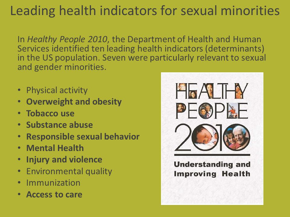 Leading health indicators for sexual minorities