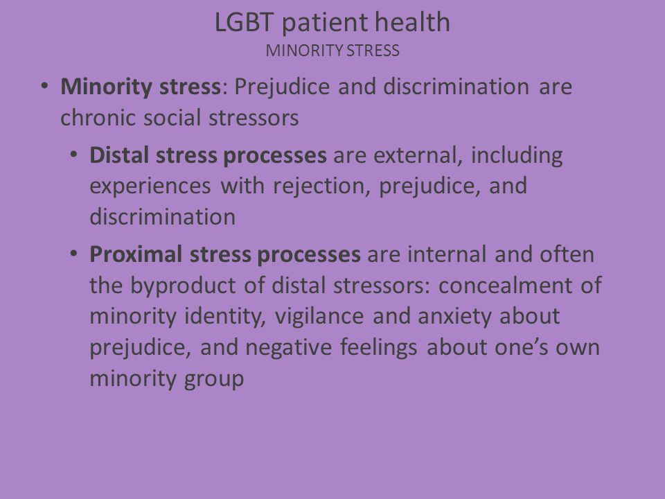 LGBT patient health MINORITY STRESS