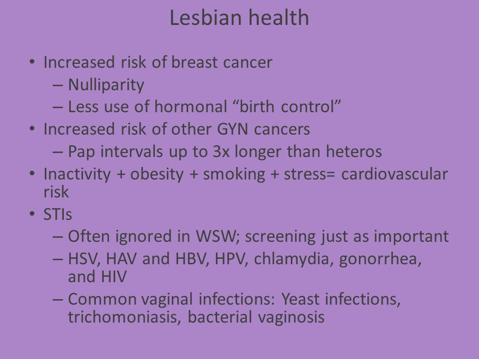 Lesbian health Increased risk of breast cancer Nulliparity