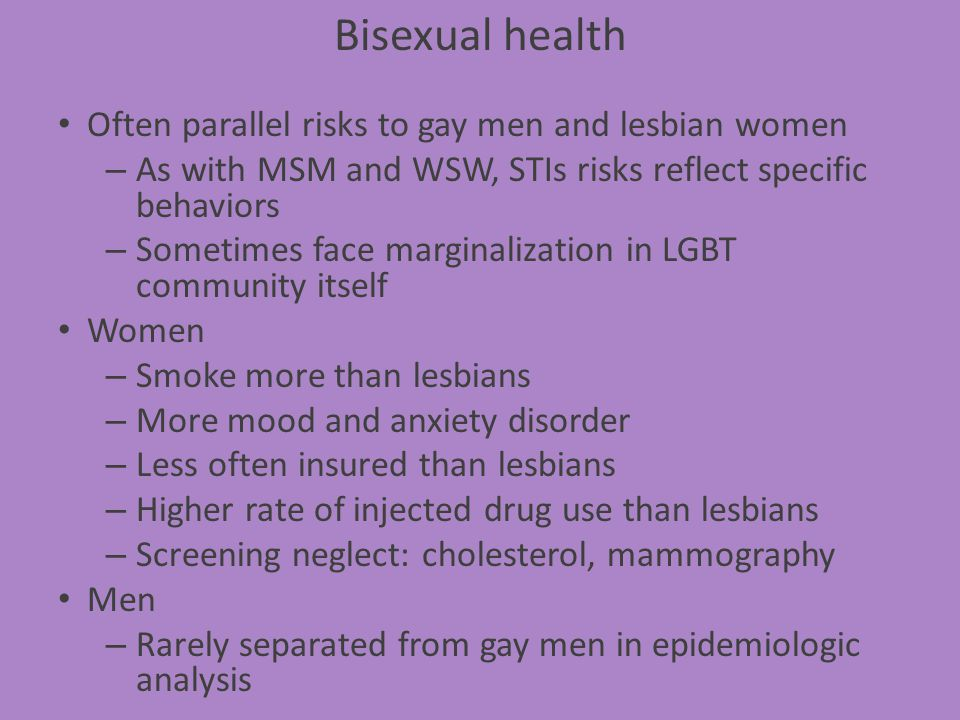 Bisexual health Often parallel risks to gay men and lesbian women