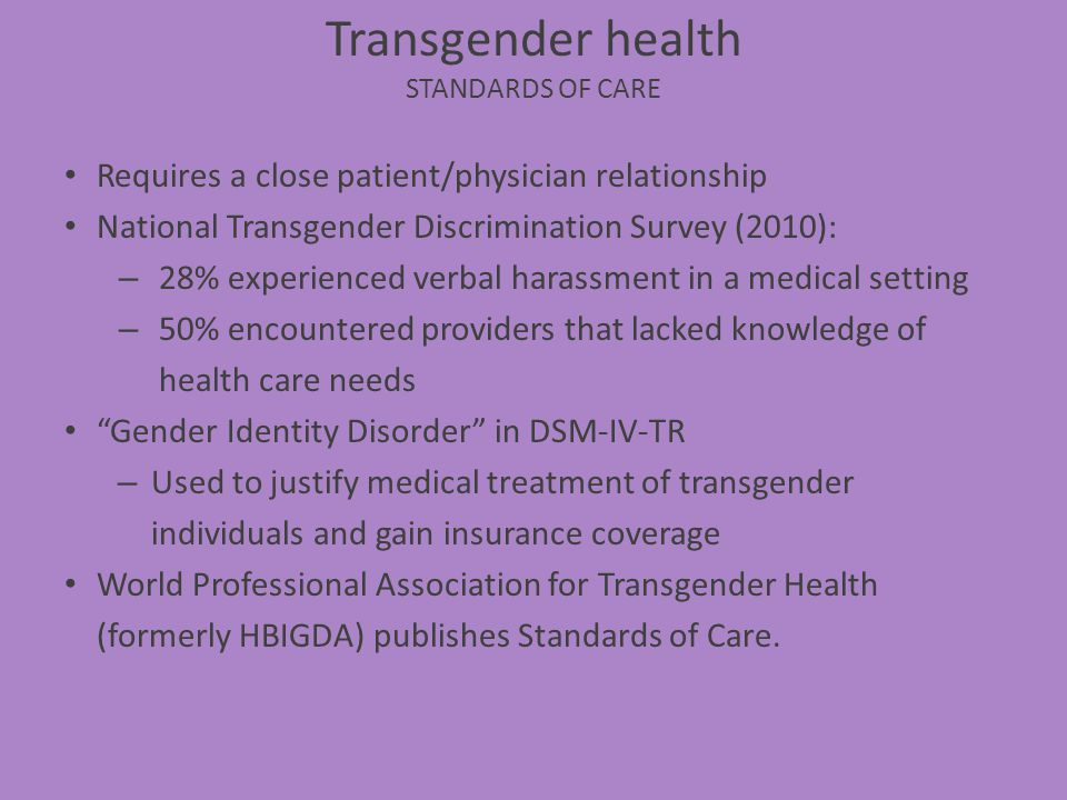 Transgender health Standards of Care