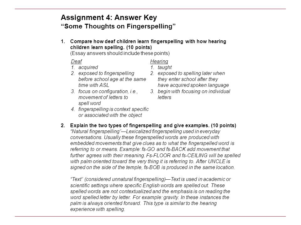 Assignment 4: Answer Key
