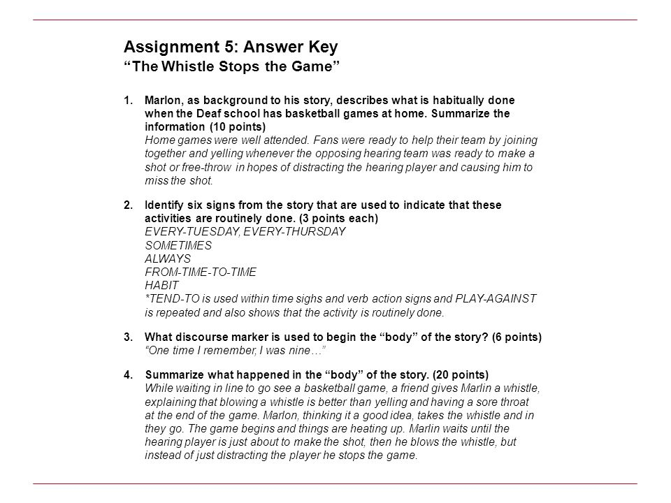 Assignment 5: Answer Key