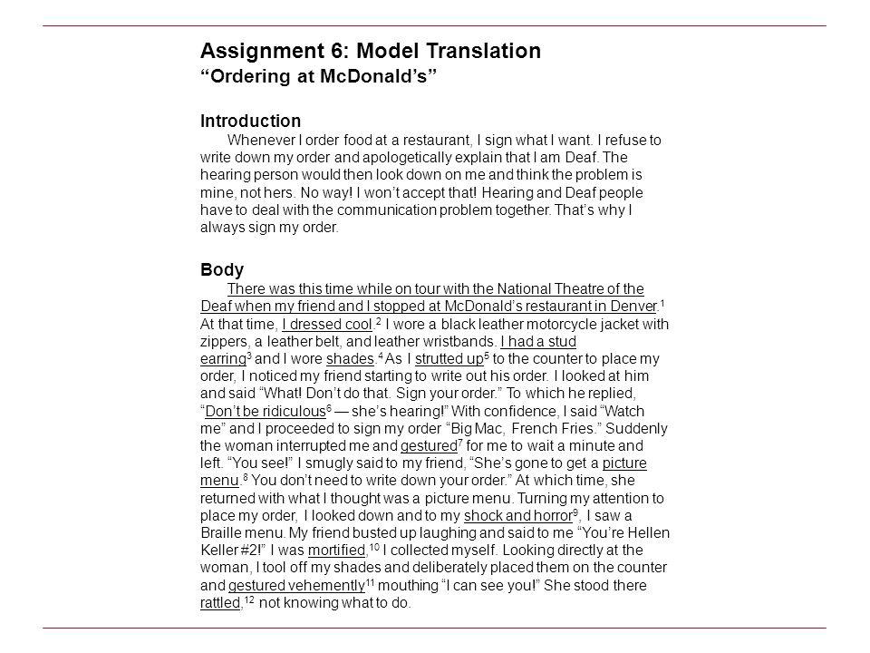 Assignment 6: Model Translation