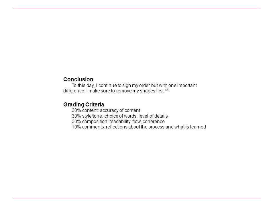 Conclusion Grading Criteria