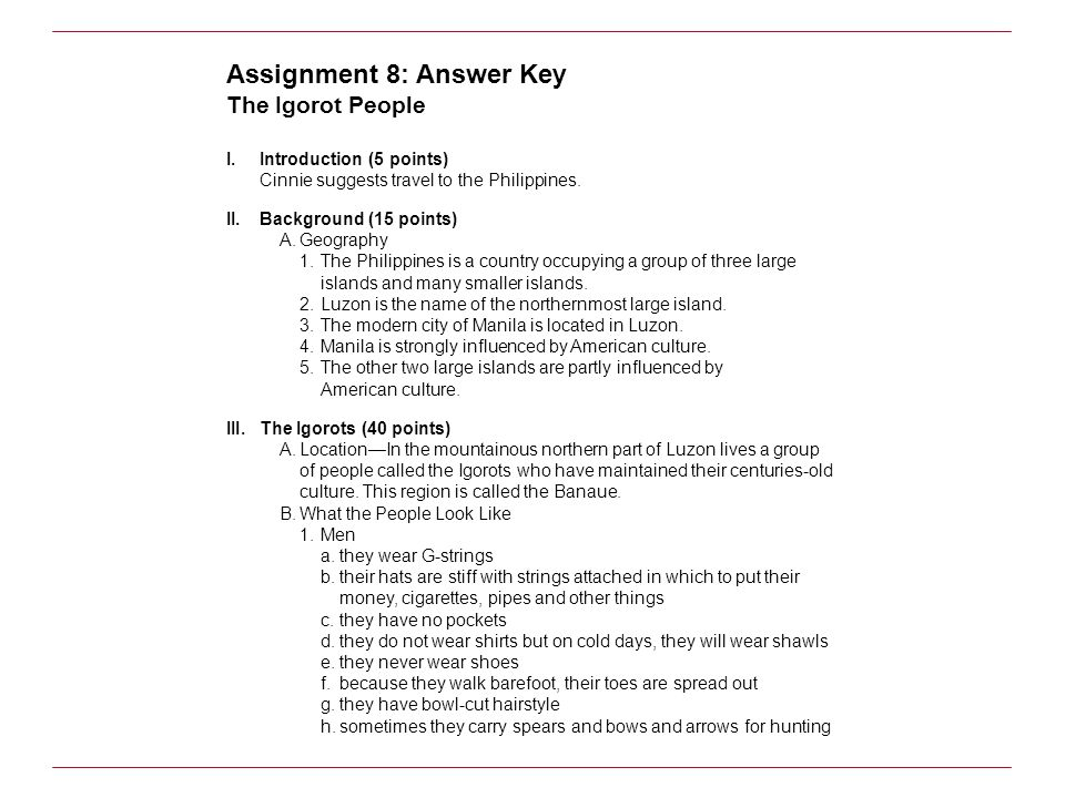 Assignment 8: Answer Key