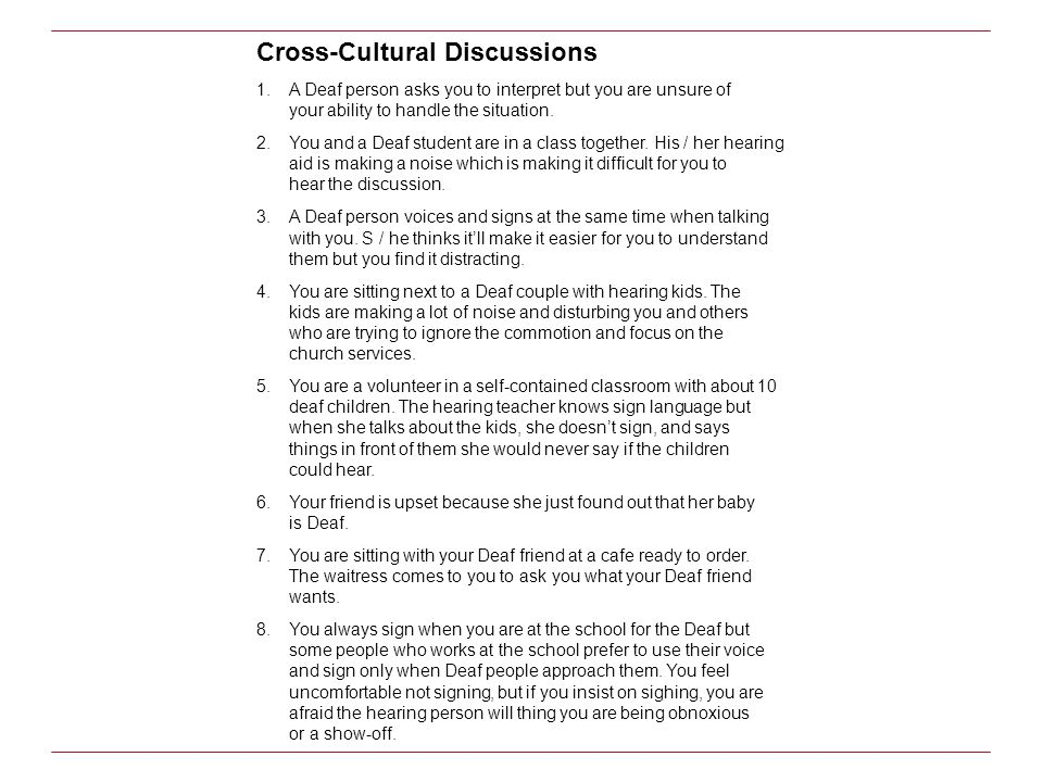 Cross-Cultural Discussions