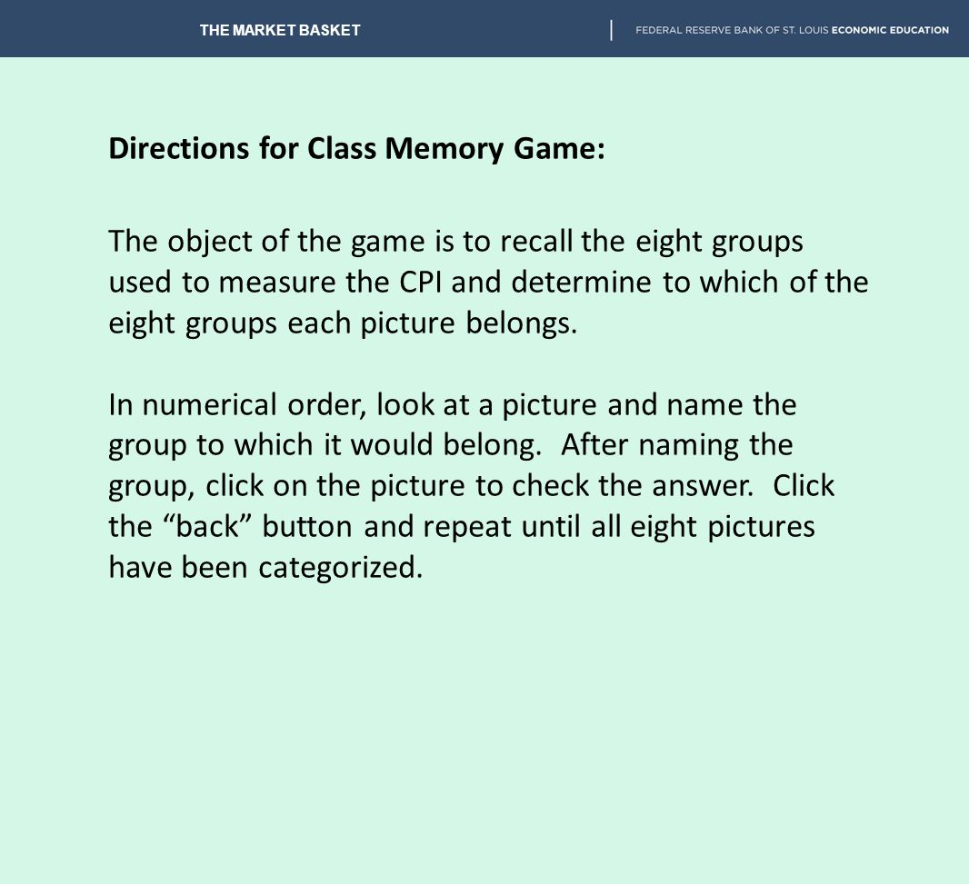 Directions for Class Memory Game: