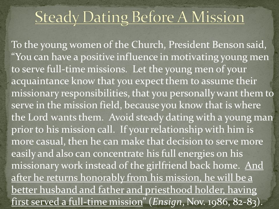 Steady Dating Before A Mission