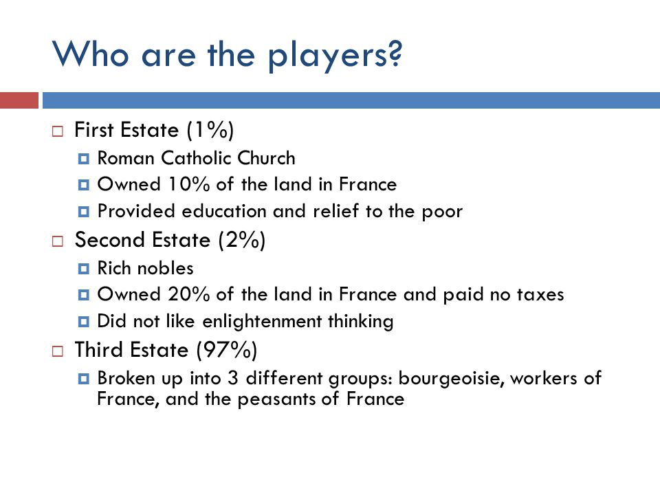 Who are the players First Estate (1%) Second Estate (2%)