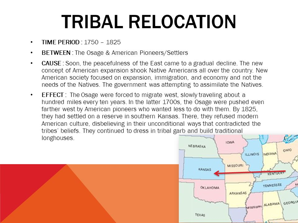 Tribal relocation TIME PERIOD : 1750 – 1825