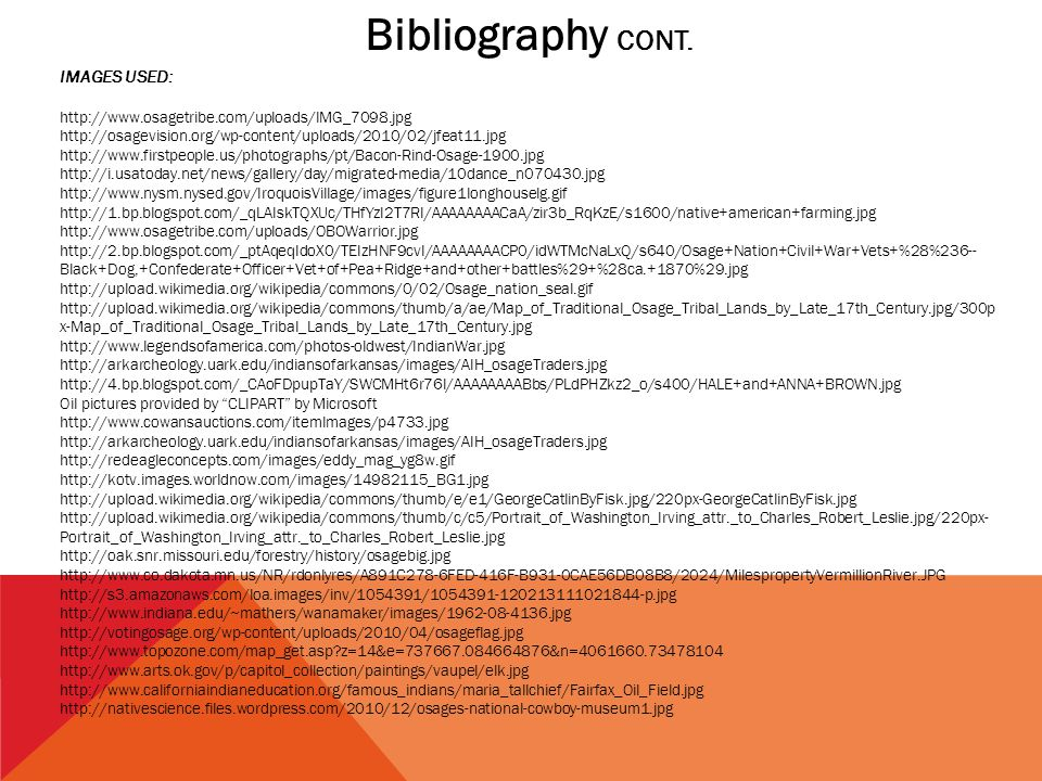 Bibliography CONT. IMAGES USED: