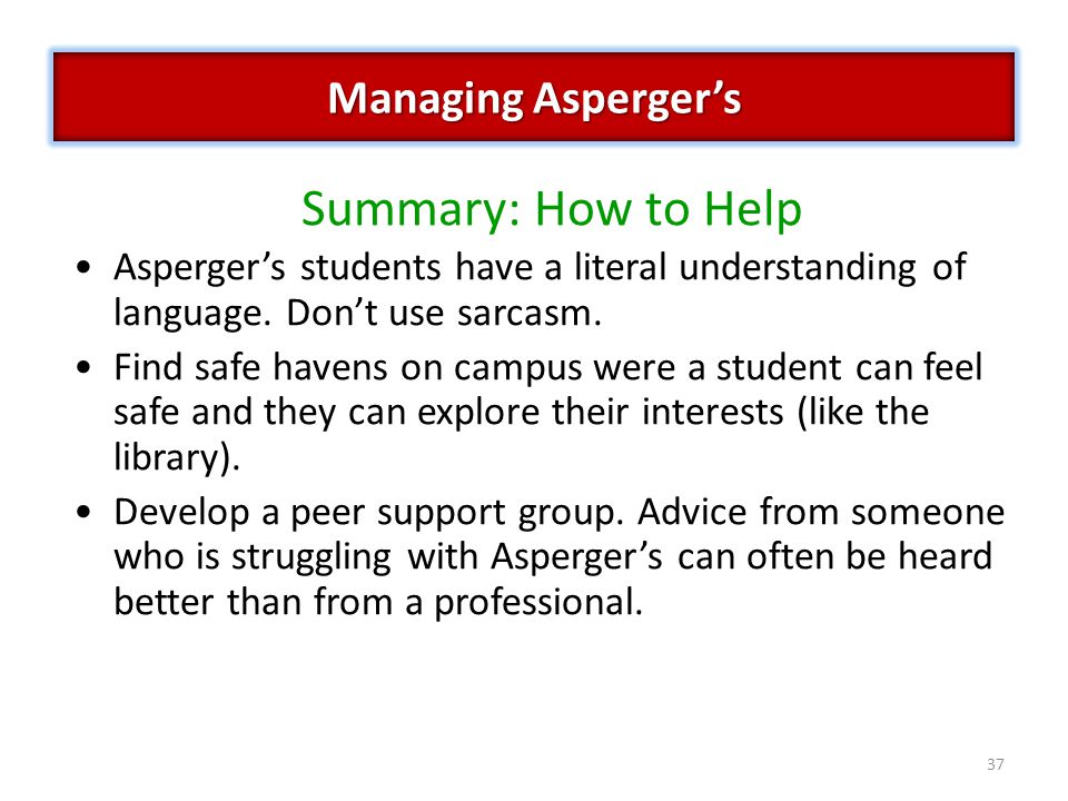 Summary: How to Help Managing Asperger's