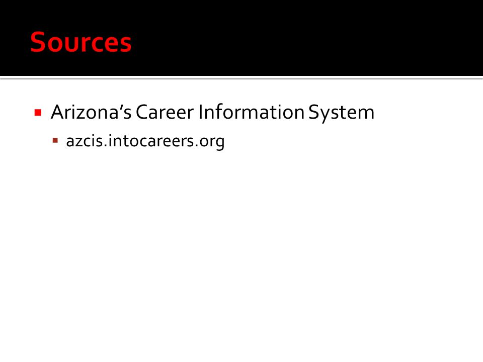 Sources Arizona's Career Information System azcis.intocareers.org