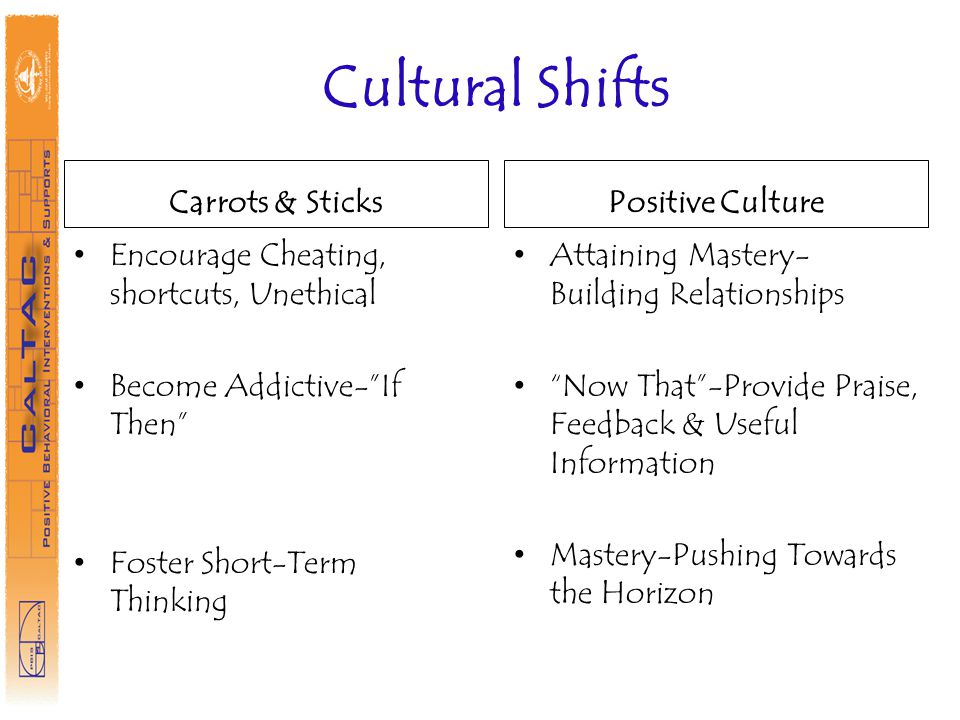 Cultural Shifts Carrots & Sticks Positive Culture